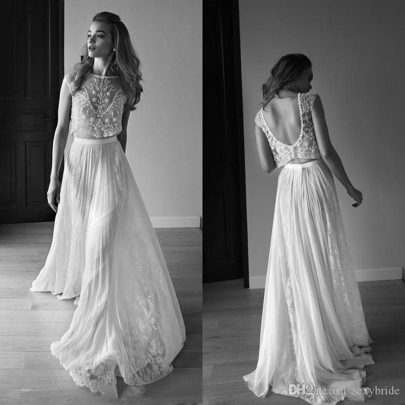 Bohemian Wedding Dresses Two Piece Sweetheart Sleeveless Low Back Pearls Beading Sequins Lace Chiffon Beach Boho Wedding Gowns