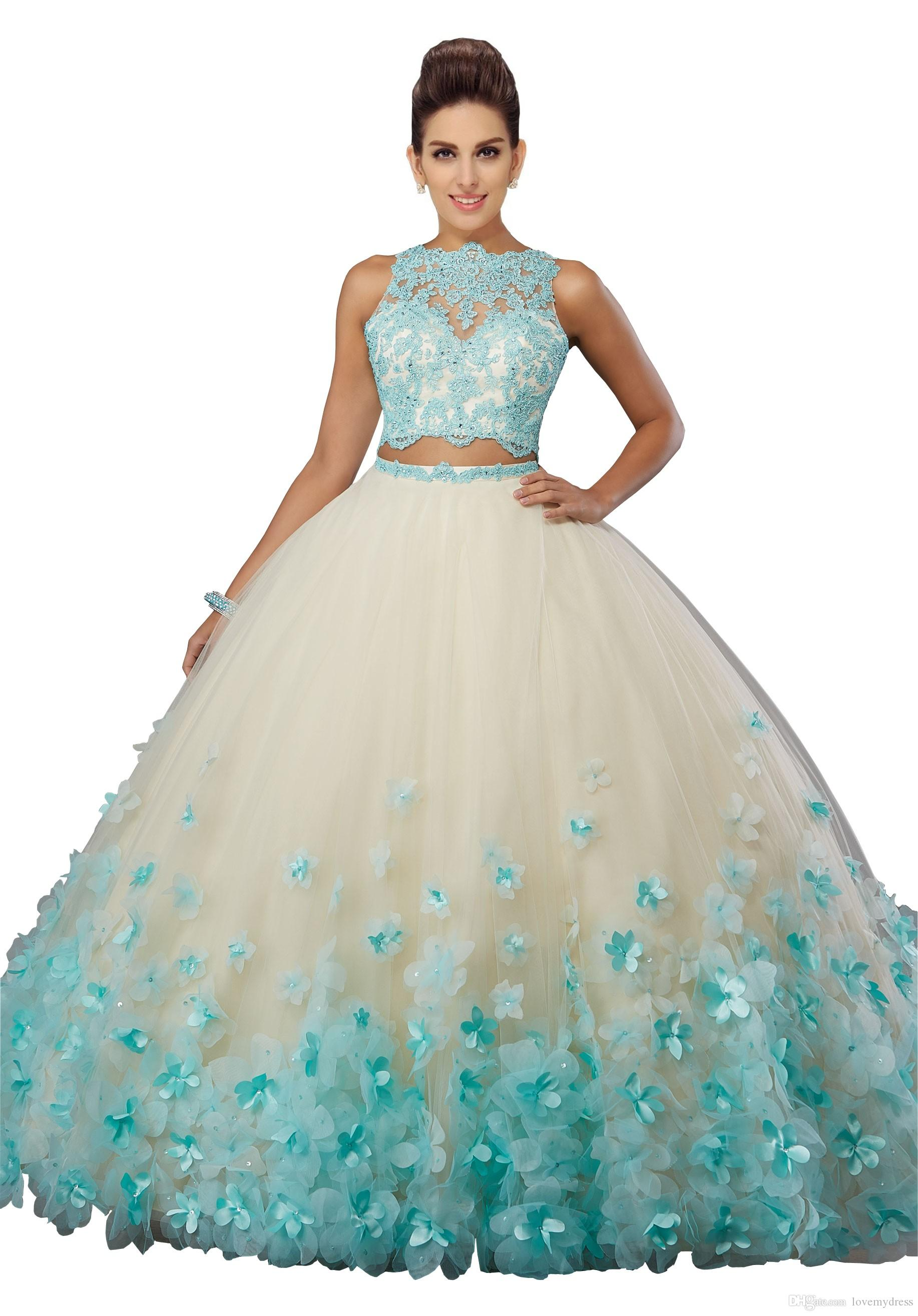 10f42d924b ... Fashion Two Pieces Quinceanera Prom Dresses Cheap 2019 New Stylish 3D  Floral Flowers Sheer Jewel Neck