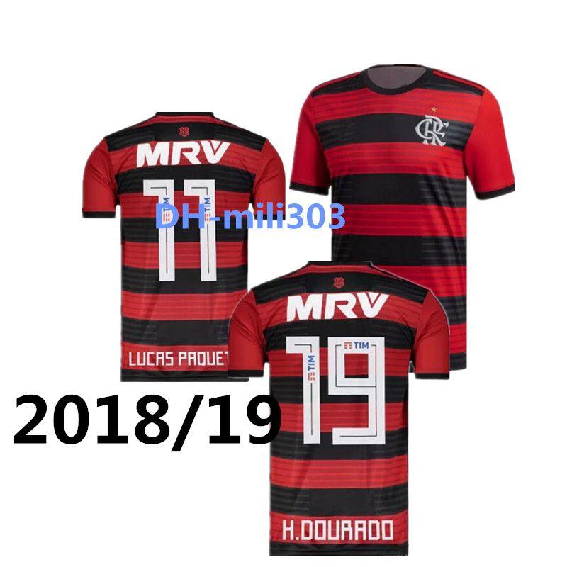 a7eb2ecd791c1 Compre Qualidade Tailandesa 2018 2019 Flamengo Camisa De Futebol 18 19  Flamengo Home Camisa De Futebol GUERRERO DIEGO Maillot VINICIUS JR Casa Camisa  De ...