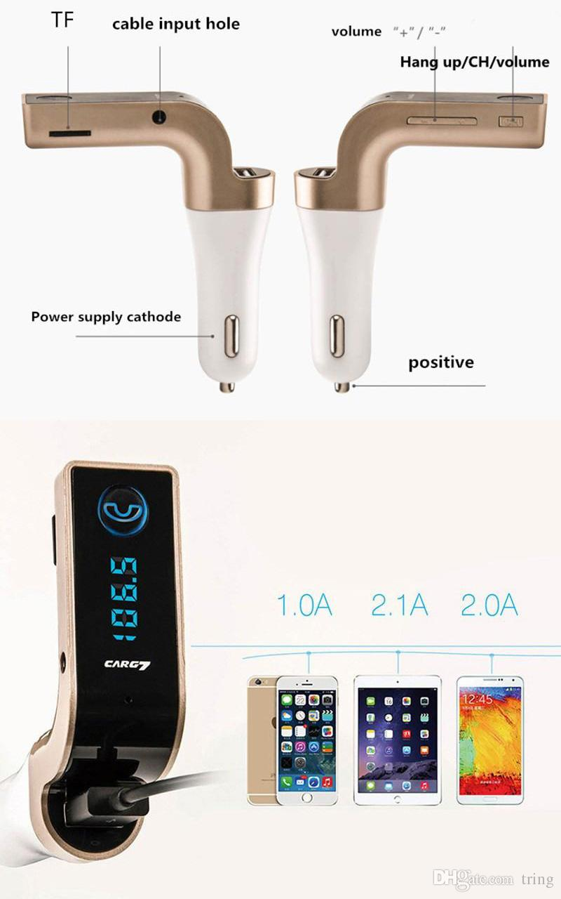 CAR G7 Bluetooth MP3 FM Transmitter Bluetooth Wireless Car Kit Hands Free FM Adapter Transmitter With USB Car Charger With Package
