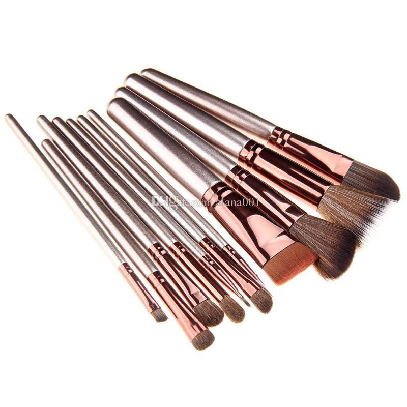 / Set Champagne Gold Makeup Brush Horse Hair Makeup Brush Set Fish Scale Bucket Beauty Tool kit Brush length 17cm