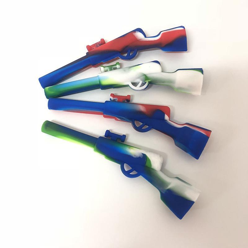 Metal Kase ile tüfek Silikon Boru Yağ Rig Nargile Balmumu Kalem Sigara Borular 420 Küçük Silah Gizlice Bir Toke vs twsity cam künt 0266201