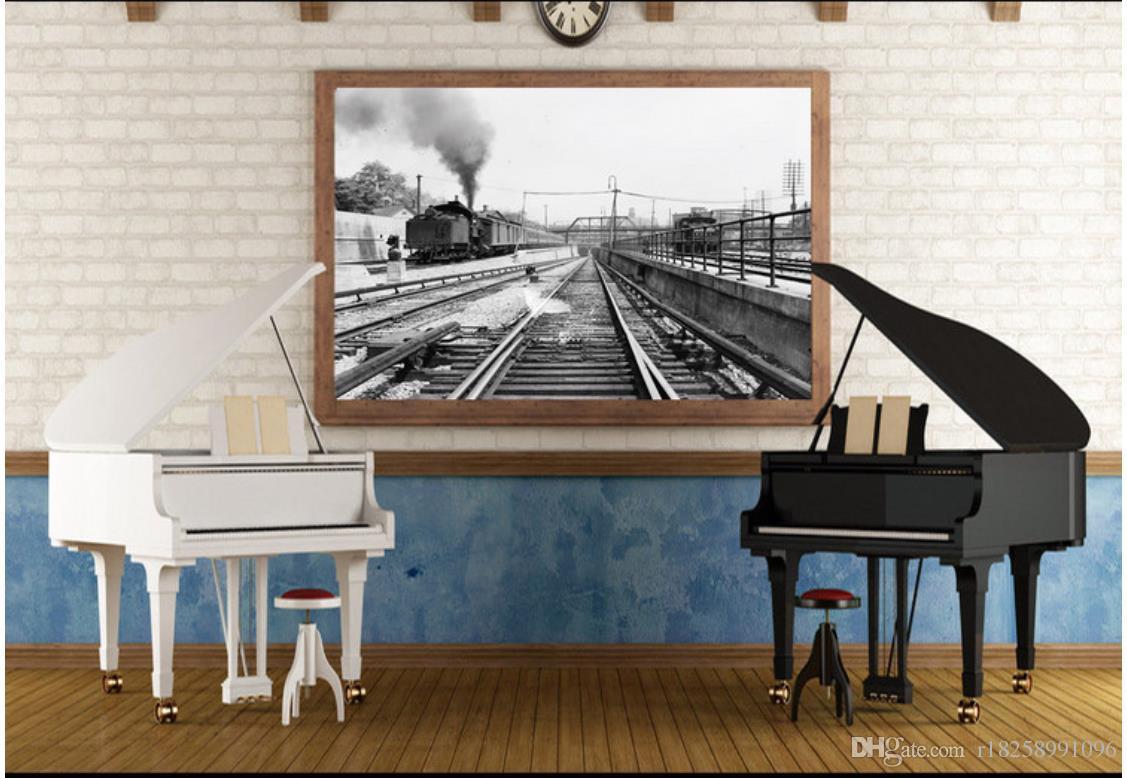 Custom 3d murals wallpaper 3d photo wallpaper murals Huge old train steam car retro old photo backdrop wall paper 3d livingroom wallpaper