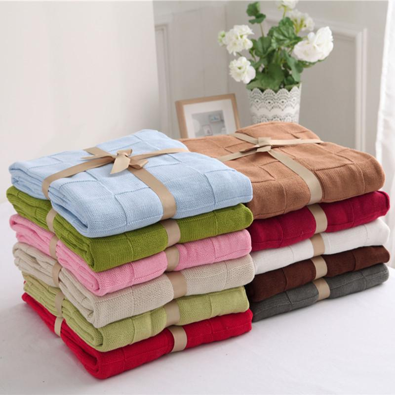 120x180cm Solid Cotton Polyester Throw Blanket Throw Sofa Bed Car ...