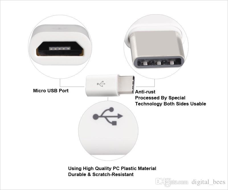 Tipo C Adattatore da USBC a Micro USB V8 Convertor Ricarica la sincronizzazione dei dati Trasporto MacBook NoKia Samsung S8 Note 8 DHL