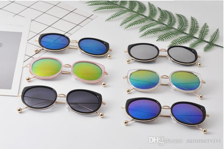 04c370d260e9 2019 Fashion Children Sunglasses Designer Kids Cat Ear Uv 400 Eyeglasses  Boy Dazzle Color Metal Ball Leg Sunglasses Summer Girls Goggles YA0354 From  ...