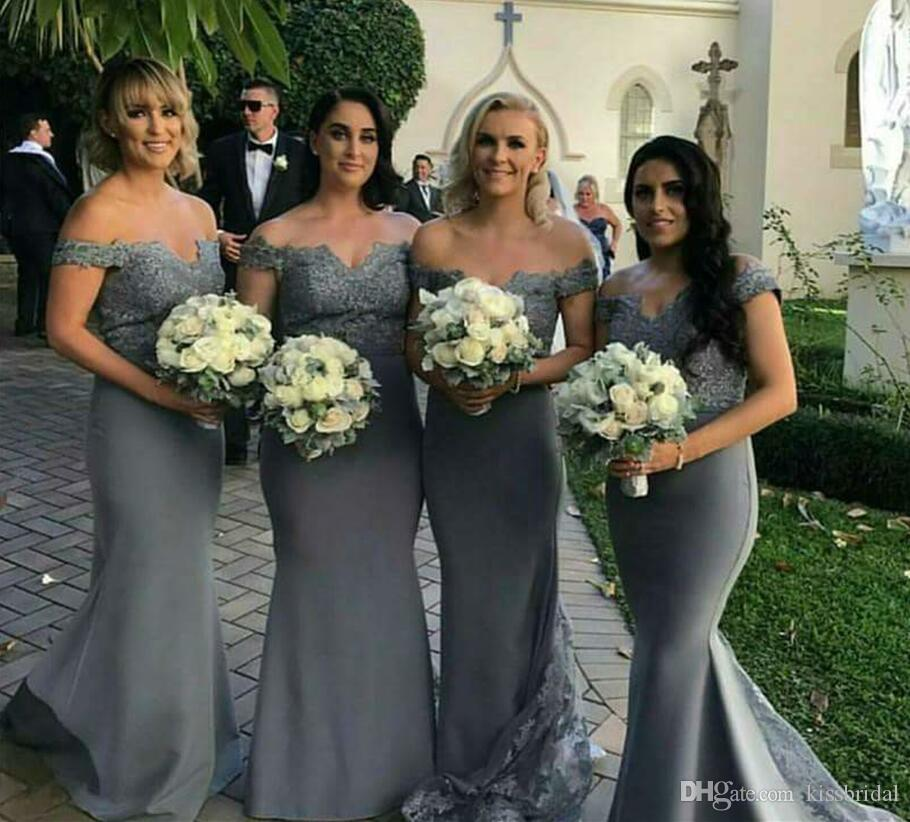 2018 Grey Lace Bridesmaid Dresses Long Mermaid Formal Evening Gowns Off The Shoulder Covered Button Sweep Train Prom Lemon