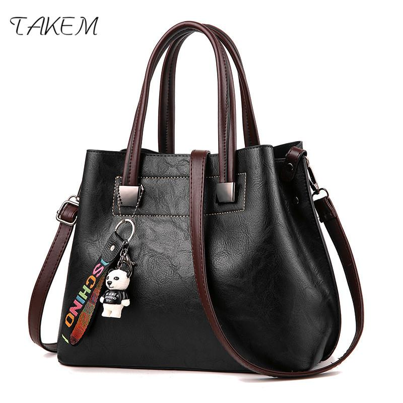 TAKEM NEW 2018 High Capacity Luxury Handbags Women Bags Design PU Ladies  Handbag High Quality Women S Over The Shoulder Bags Leather Totes Jo Totes  From ... 96594631e1