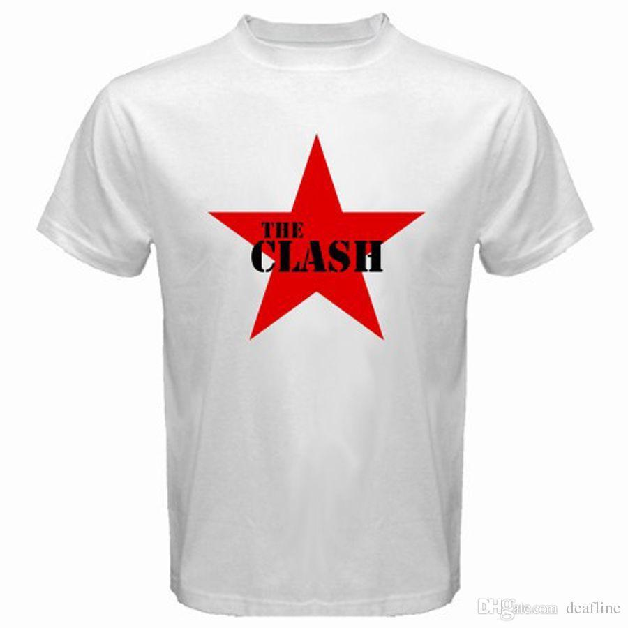 New THE CLASH Punk Rock Band Legend Red Star Logo Men's White T-Shirt Size S-3XLO-Neck Streetwear Tees