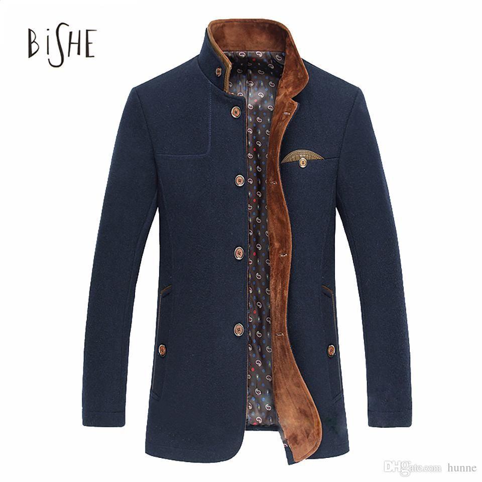 778fd0c4d630 2019 Wholesale Mens Mandarin Collar Coat Man Sobretudo Mens Winter Single  Breasted Peacoat Jacket Thicker Warm Men S Coats Male Clothing M From  Sanyen