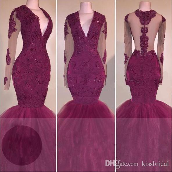 Sexig röd spets prom klänningar långärmade sjöjungfru 2K 17 afrikanska formella kvällsklänningar illusion svart tjejer pageant klänning