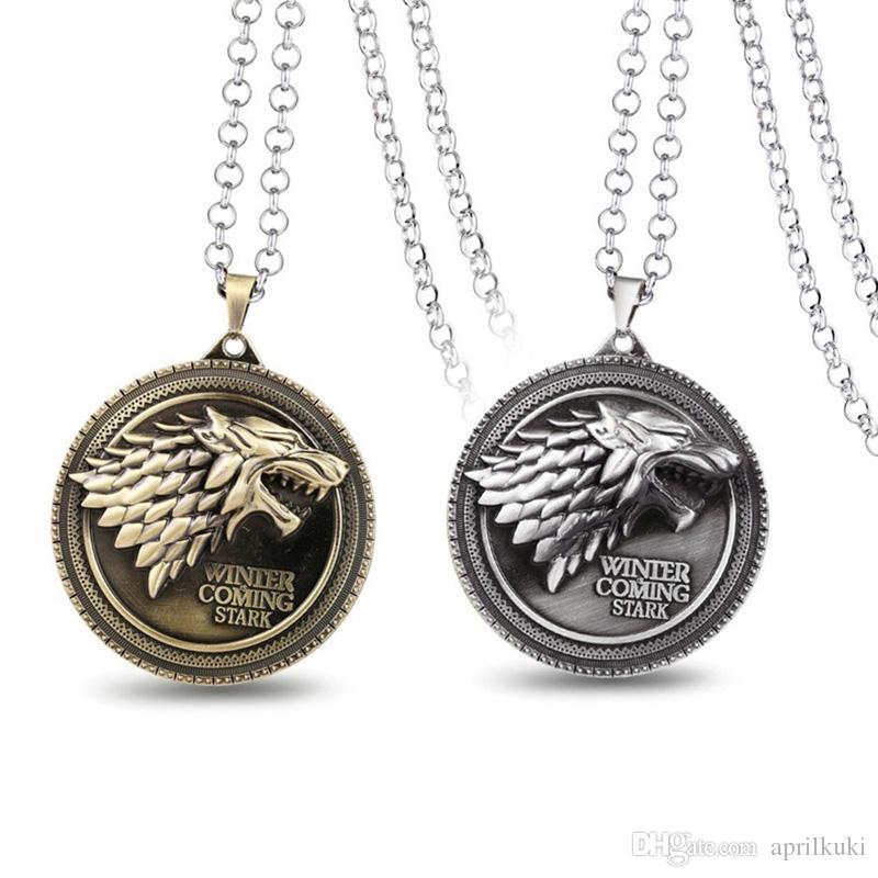 Hot Sale Game of Thrones Stark Family Wolf Dragon Lannister Targaryen Stark Baratheon Arryn Greyjoy Family Members Round Pendant Necklace