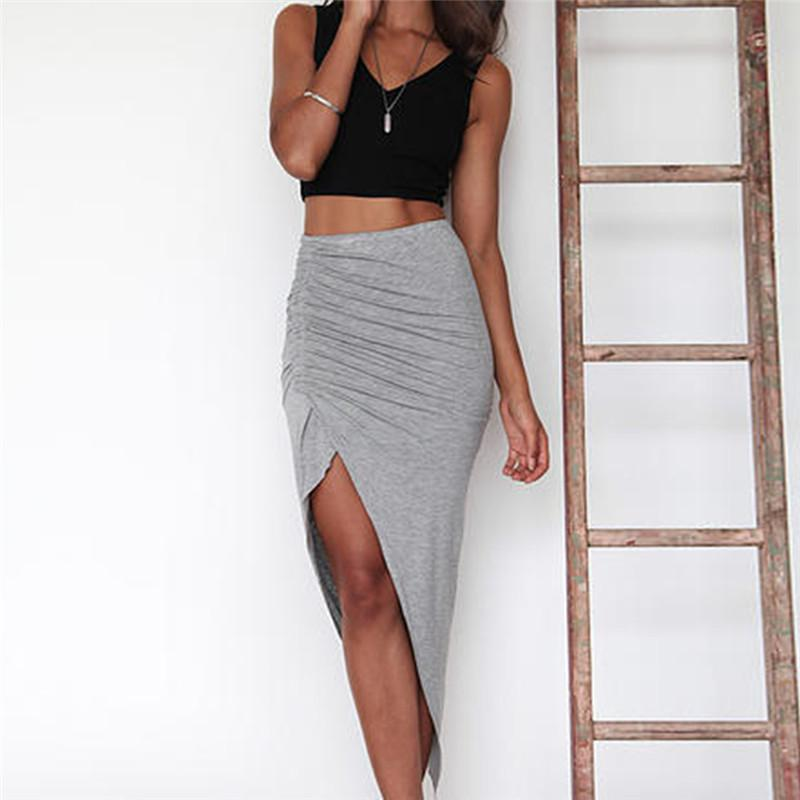 a3bb23cb072e Flaco Slit Maxi Long Lápiz Falda para mujer con pliegues lado partido Split  Faldas de cadera al por mayor Negro Gris