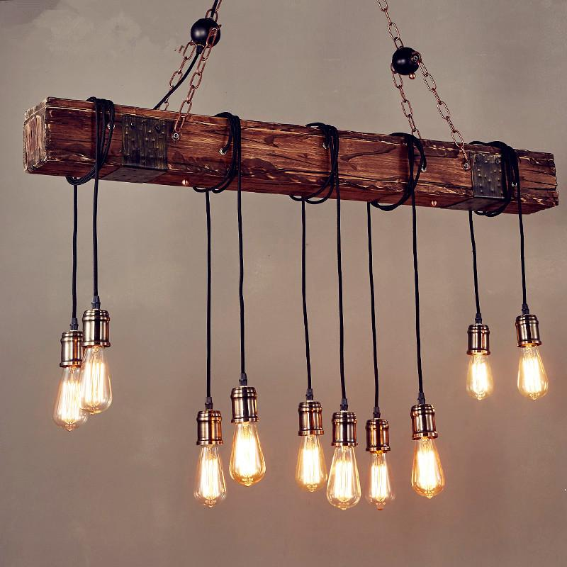 Iwhd 10 Heads Wood Vintage Lamp Loft Style Industrial Pendant Light