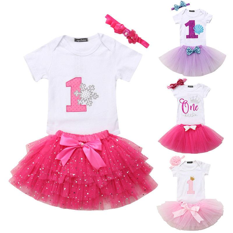 3PCS Set Princess Newborn Baby Girl 1 Year Birthday Gift Short Sleeve Cotton Romper Tops Tutu Skirt Headband Party Clothes