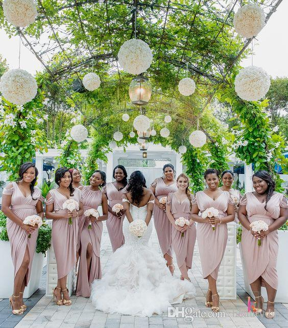 Bridesmaid Dresses 2019 Blush Country Off Shoulder Beach Wedding Party Guest Dresses Front Split Junior Maid of Honor Dress Tea-length