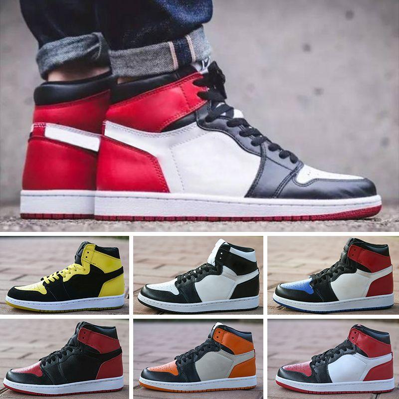 on sale cbb4d 5ef6c Acheter 2018 Nike Air Jordan 1 Retro Nouvelle Arrivée OG Top 1 Hommes Noir  Or Chaussures De Basket Ball 1s Sneakers Haute Qualité En Plein Air  Trainers ...