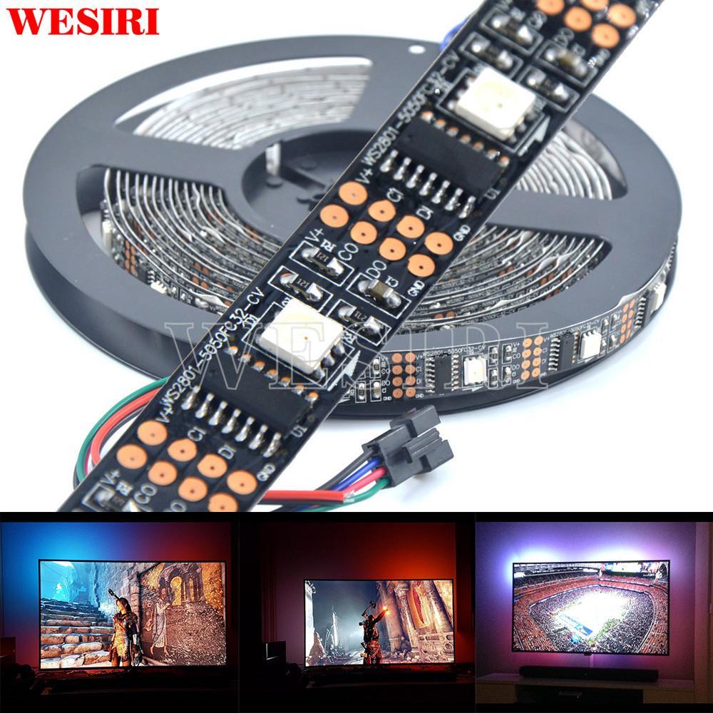 3M/5M WS2801 Addressable LED Strip 5050 RGB LED Strip Ambilight TV Back  Light 5V
