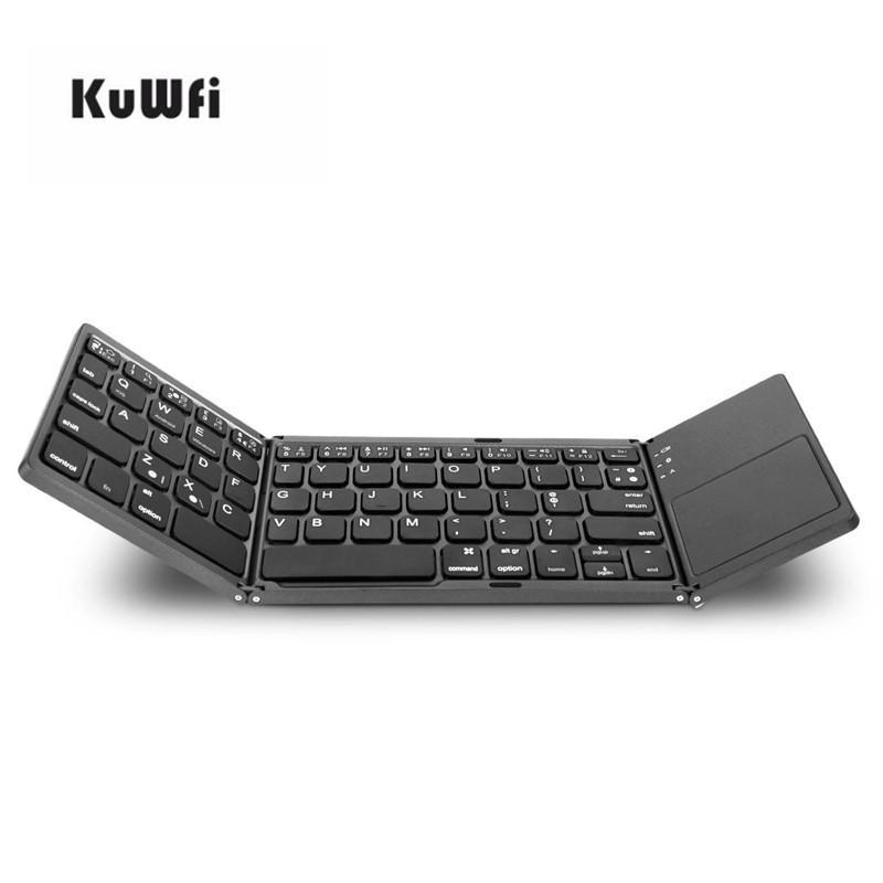fd5143358fc KuWfi Twice Folding Bluetooth Keyboard Mini Wireless Foldable Touchpad  Keypad For IOS/Android/Windows Ipad Tablet A Keyboard Backlit Keyboard From  ...