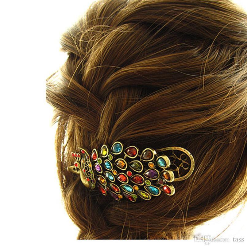 Women's Beauty Vintage Colorful Crystal Rhinestone Peacock Hair Pin Hair Clip