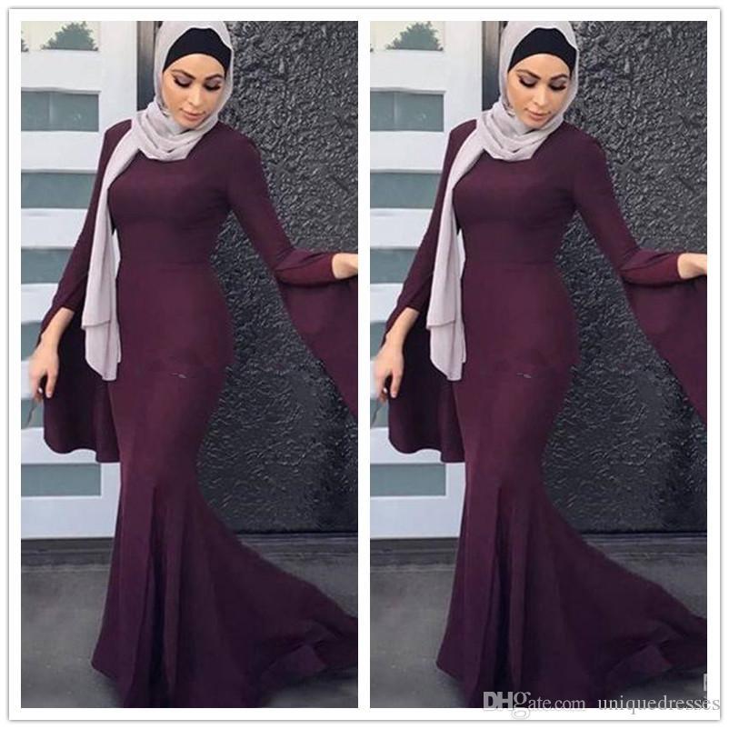 d9eb8fffcb1 Elegant 2018 Long Sleeve Muslim Evening Dresses Elegant Vestidos De Fiesta  Cheap Mermaid Prom Party Gowns Plus Size Formal Dresses Backless Dresses  From ...