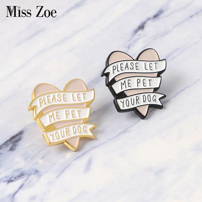 6b452812e23 2019 Pink Heart Banner Enamel Pin Gold Black Pet Dog Related Brooch ...