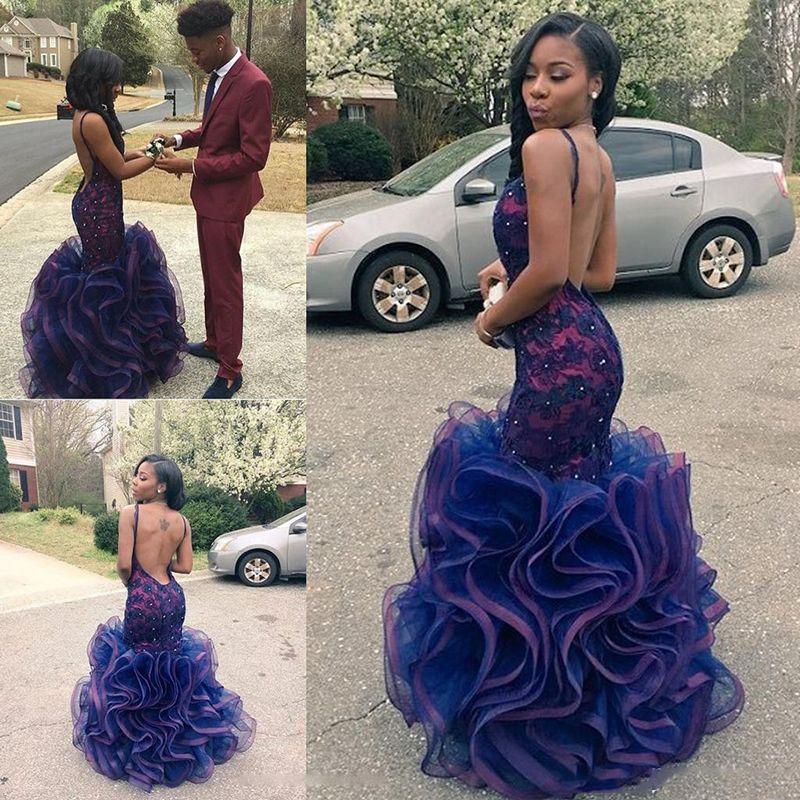 Rose Moda Thin Straps Deep Sweetheart Backless Prom Dress Multi Colored Mermaid Prom Dresses 2018 Custom Made ZJ61