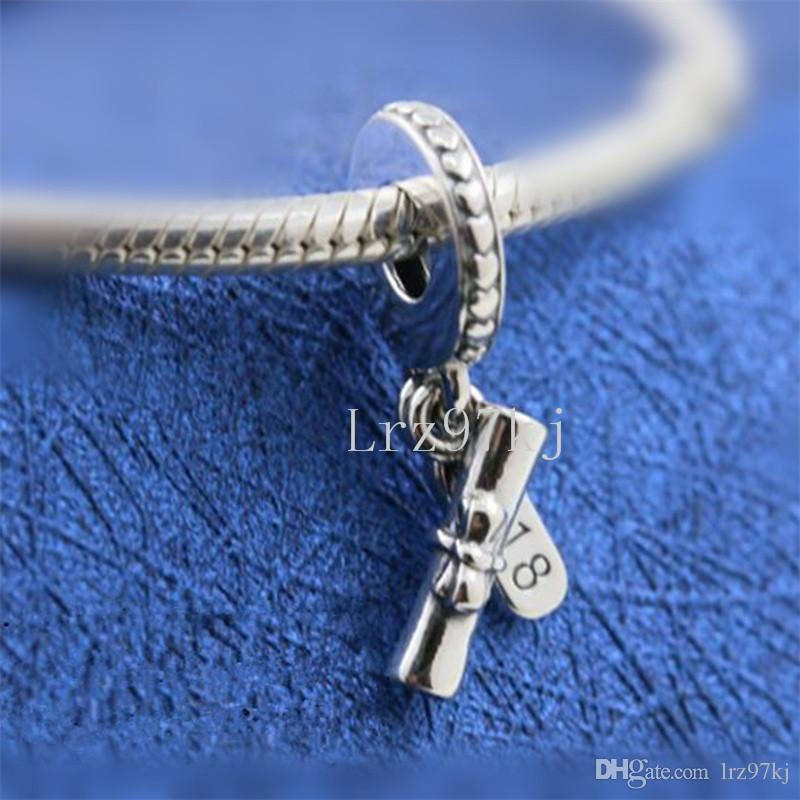2888445fb 2018 Mother's Day 925 Sterling Silver Graduation Scroll Hanging Charm Bead  Fits European Pandora Jewelry Bracelets Necklaces & Pendants