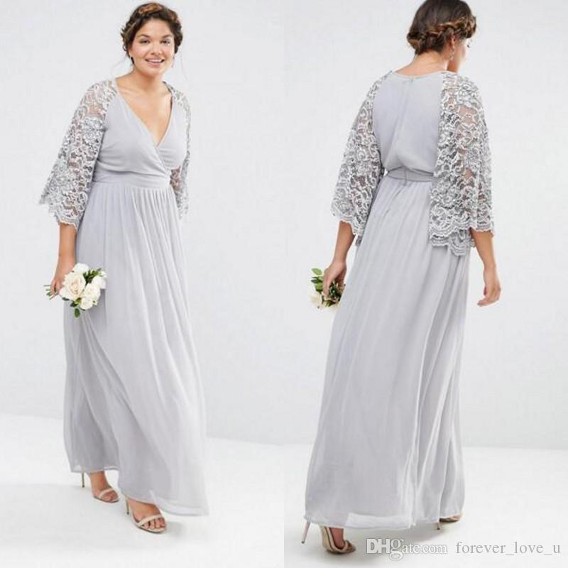 3c35902dba3 Plus Size Silver Mother Of The Bride Dresses Surplice Deep V Neck Illusion  Lace Sleeves Ankle Length Formal Mother S Dress Wedding Guest Mother Of The  Bride ...