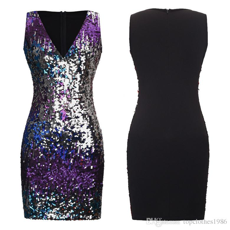 High quality Women's Fashion party Dress Sleeveless V-Neck Sexy dress sequins Bodycon Dresses Size SMLXL2XL