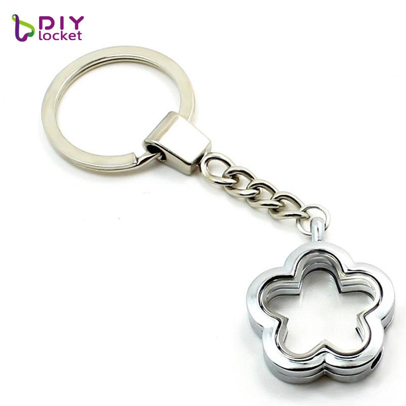 5PCS 30mm Silver keyring For a women Flower magnetic glass locket keychain floating charms locket key chain Zinc Alloy LSFK08*5