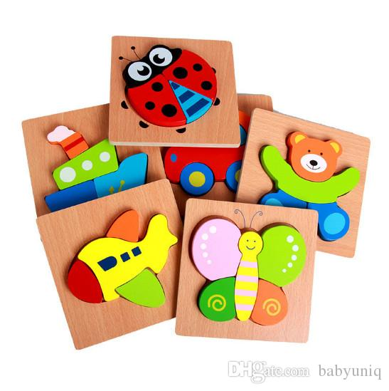 cute animal Vehile wooden Puzzles Baby colorful Wood jigsaw intelligence toys toddlers gifts