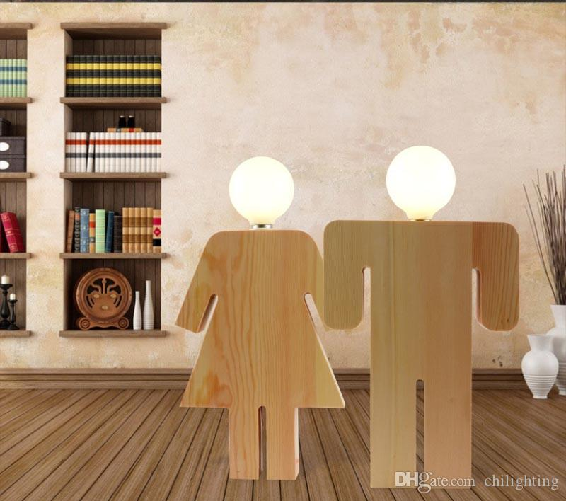 Wooden LED table lamp wedding couple humanoid trim bedside lamp bedroom  living room lamps hotel free shipping