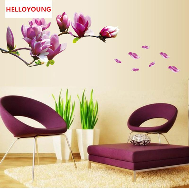 Purple Magnolia Flower Wall Stickers Bedroom Parlor Wall Stickers Home Decor Living Room Paper Sticker Vinyl Wall Decals