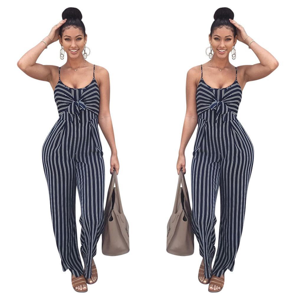 99f23f858e8 2019 Thefound Elegant Women Jumpsuit Romper Sleeveless Bow Knot Striped  Sexy Clubwear Party Overalls Long Trousers 2018 Summer From Redbud01