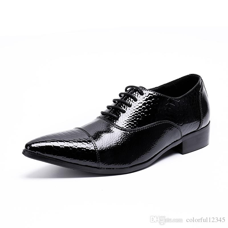 Luxury Men Dress Shoes New Handmade Genuine Leather Black Italian Fashion Business Oxford Shoes 2018 Lace-up