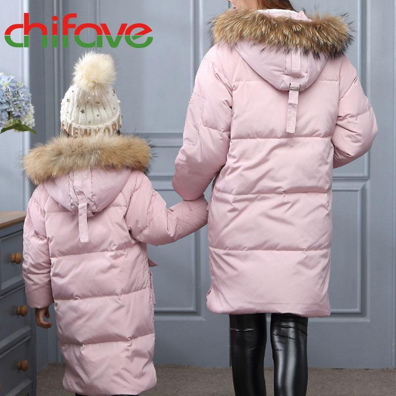 Chifave Chaqueta de traje a juego familiar Gruesa Cálido Abrigo largo Cremallera Cuello de piel con capucha Mamá Hija Prendas de abrigo Ropa para bebés