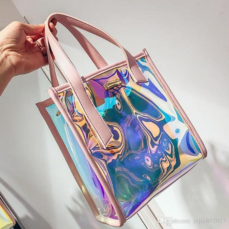 Women Transparent Bag Clear PVC Jelly Tote Messenger Bags Laser Holographic Shoulder  Bags Female Lady Sac Femme Bandoulier J234 Black Handbags Handbags ... 62ccd69e7e770