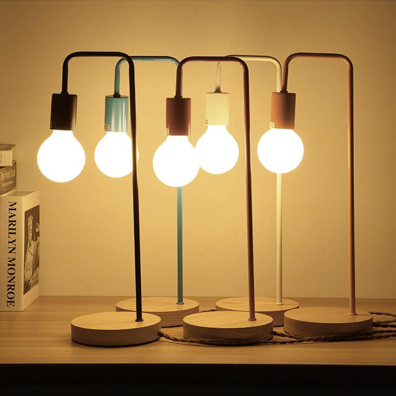 Modern Led Desk Light Wood Base 220V E27 Edison Bulb Vintage Desk Lamp  Stand For Bedroom Study Office Multi Color Table Light