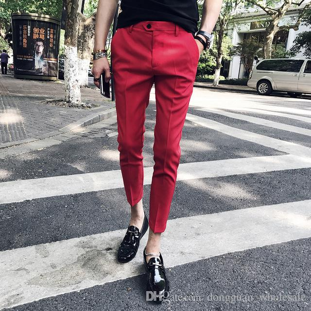 2019 5 Solid Pantalon Costume Dress Ankle Pants Calca Social