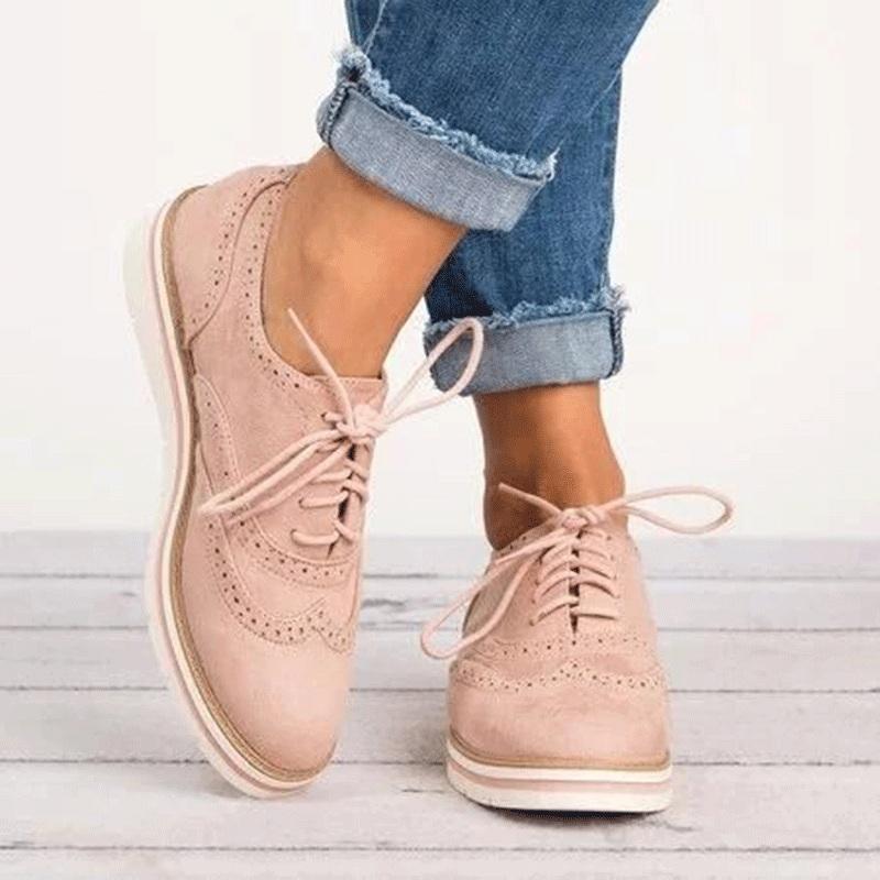 3520b87d21 Compre LAKESHI Zapatos Oxford Para Mujer Zapatos Brogue Mujer Plataforma Oxfords  Estilo Británico Recortes Creepers Mujeres Planas Casual A  31.2 Del ...