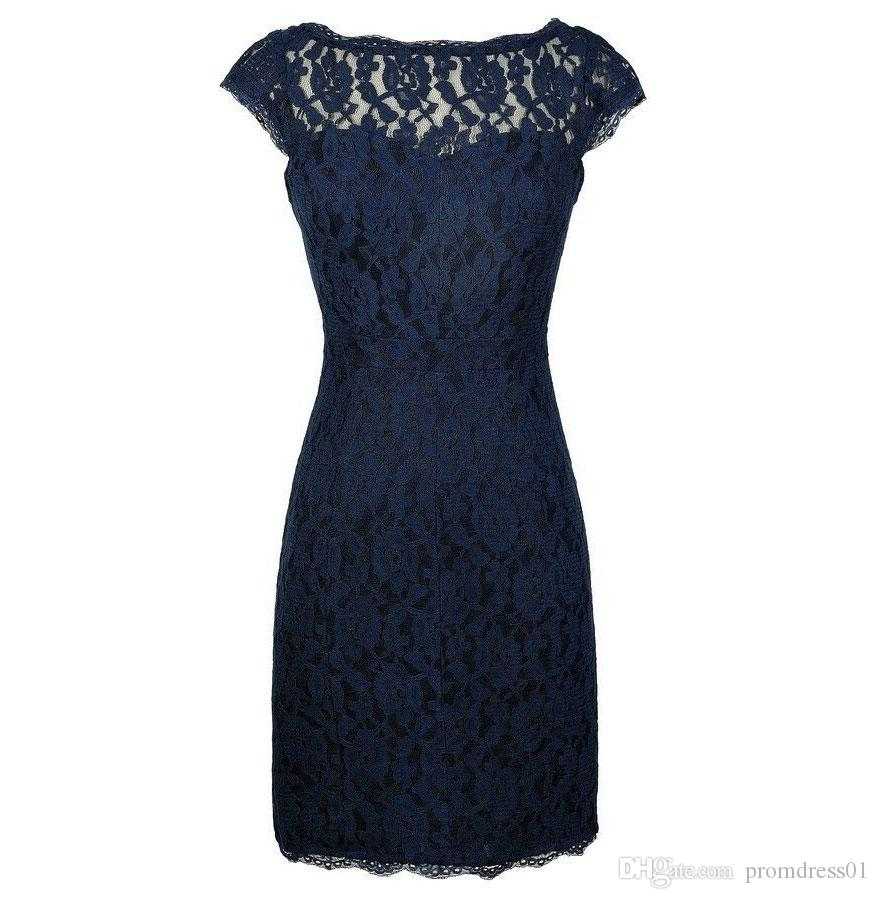 Dark Navy Lace Sheath Knee Length Mother of the Bride Dresses with Lace for Wedding Party Mother of the groom Dresses