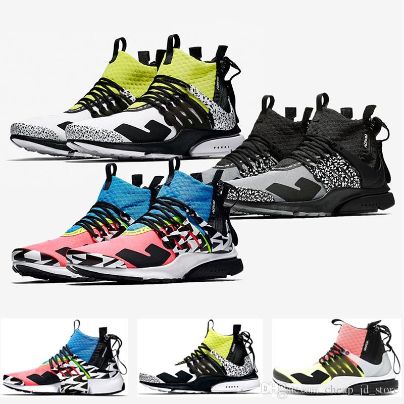 separation shoes 810bc a6752 Compre ACRONYM X Nike Air Presto Mid Off White Acrónimo Presto Mid Running  Shoes Cool Grey Yellow Yellow Racer Pink Lava Caliente Hombres Mujeres ...
