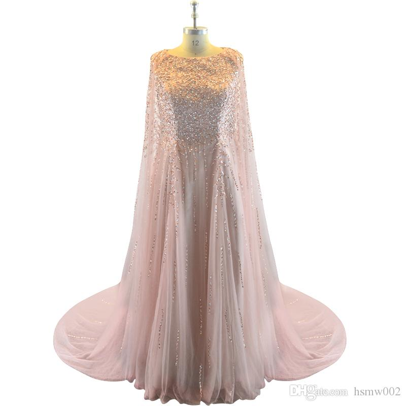 Elegant Formal Evening Dresses Tulle Cape Ruffles Real Photo Show Long Sheer Prom Party Gowns Evening Wear Dress