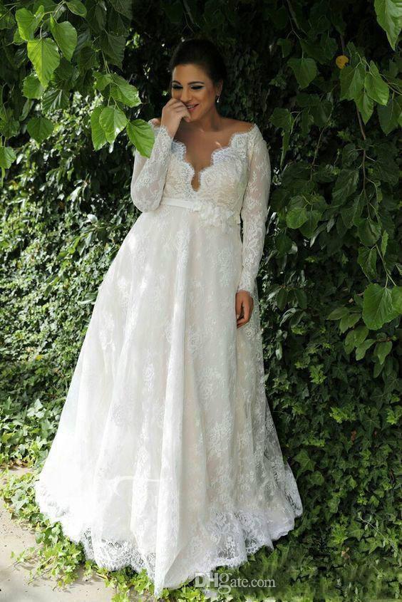 Discount 2019 Plus Size Lace Wedding Dresses Deep V Neck Long ...
