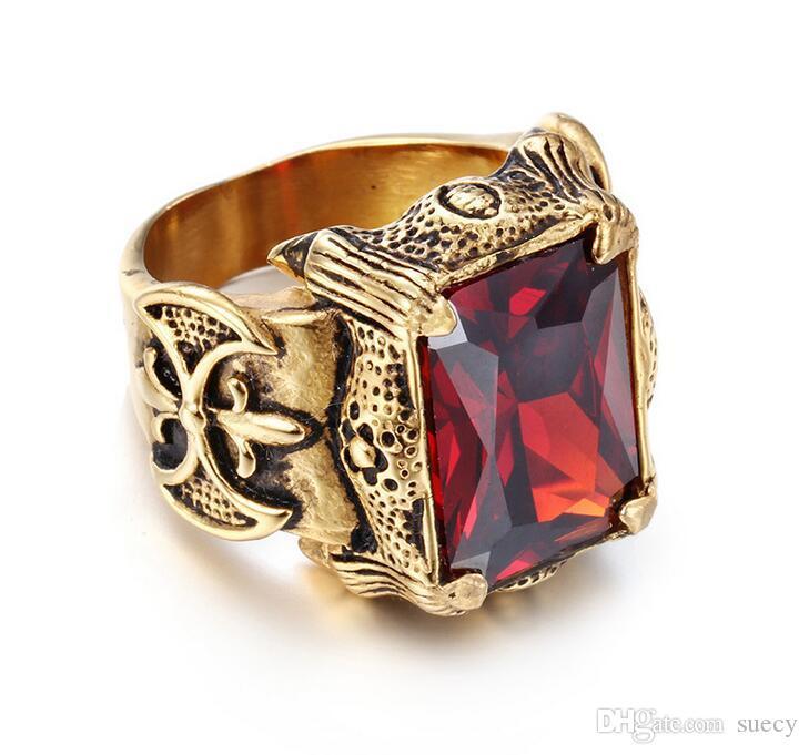 Cor do ouro Gothic Vintage Dragon Claw motociclista anel de Men Punk Rock Band verde CZ cristal em aço inoxidável moda dedo cruz da jóia do anel