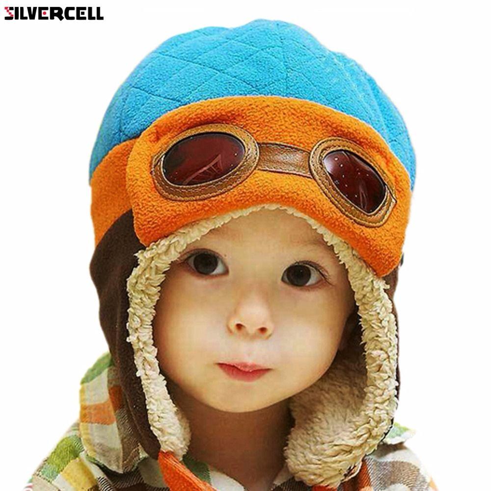 5be864ae2 Boys Girls Baby Pilot Aviator Hat Winter Cotton Warm Ear Cap Beanie 4 Colors