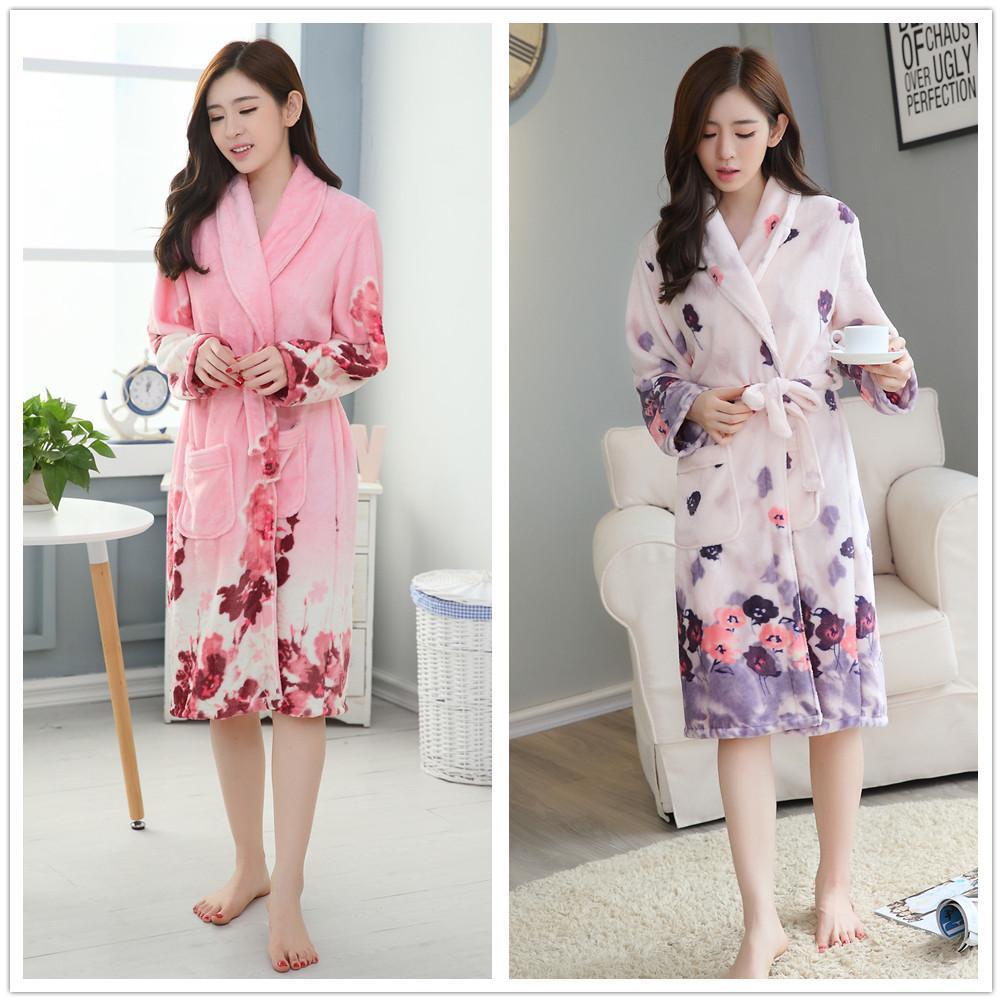 93dd536905e3 Flowers Winter Bathrobe Flannel Long Sleeve Women Sleepwear Pajama ...