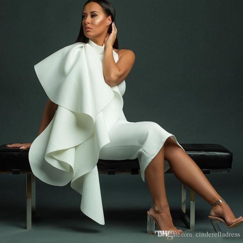2018 Sexy White Short Plus Size Abiti da cocktail Jewel Neck Cascading Ruffles Tea Length Back Split Backless Formal Party Vestito economico