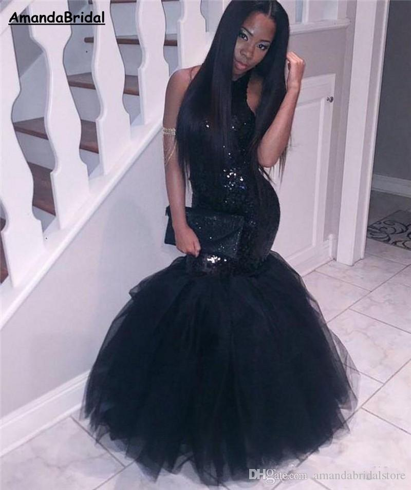 Amandabridal 2018 Black Girl Mermaid African Prom Dresses Evening wear Plus Size Long Sequined Sexy Backless Sheath Gowns Cheap Party Dress
